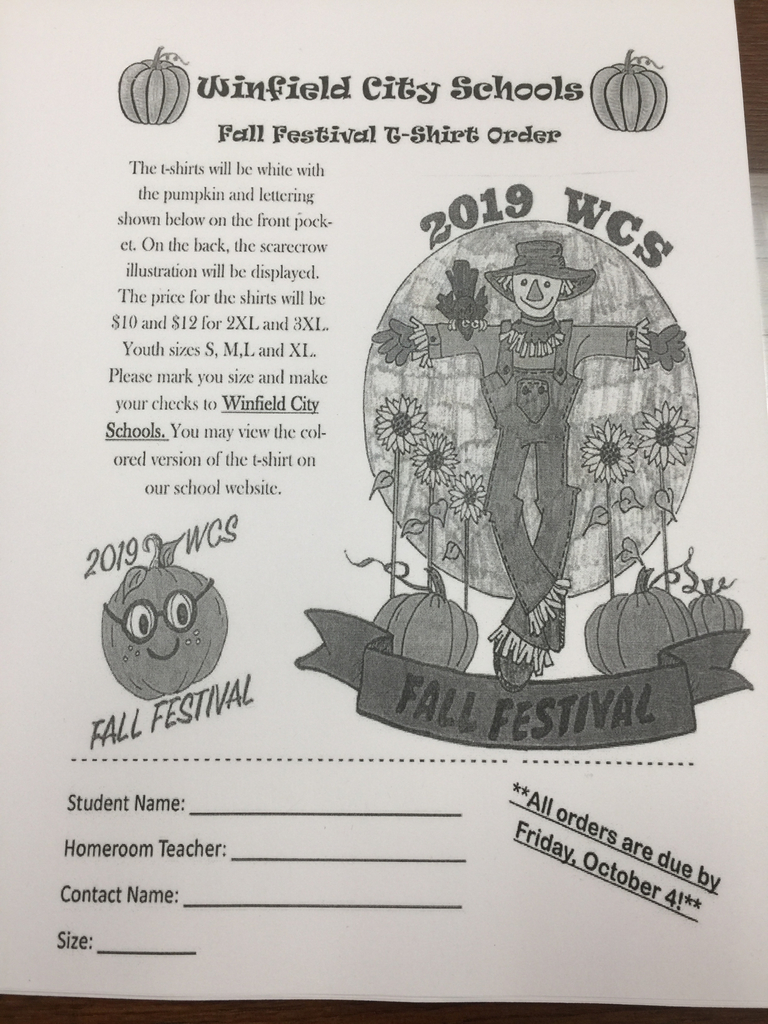 Fall Festival T-shirt order due by 10/4/19