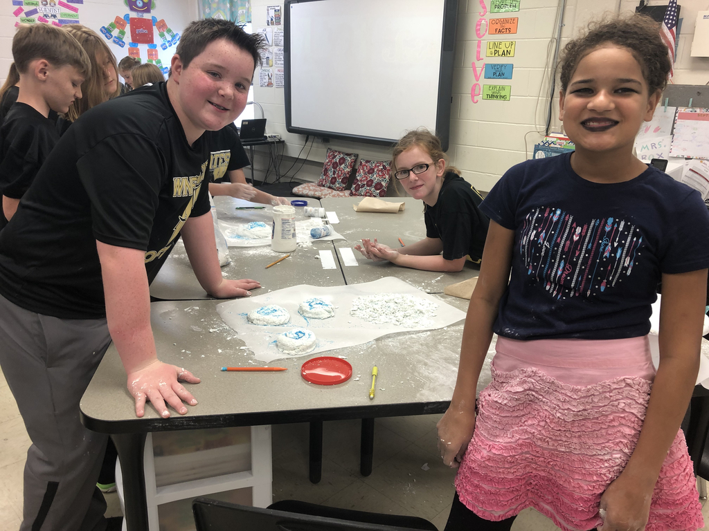 5th grade students in Mrs. Box's class create hurricane dough during Rock Your School day.