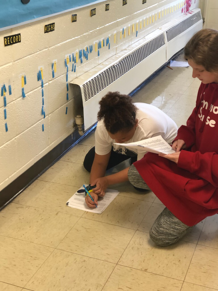 The classes worked together to record extreme weather- the record high and low for every state. Then, they used their data to answer questions about Integers, absolute value, range, and distance.