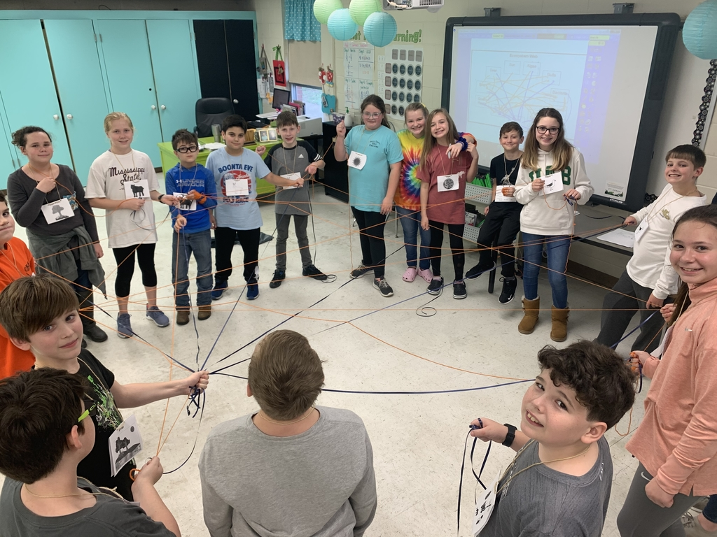 5th graders make a model of an ecosystem food web during science!