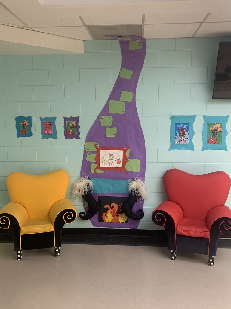 The elementary school is decorated and ready for Read Across America week!